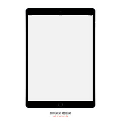 tablet black color with blank screen isolated on white background. stock vector illustration eps10