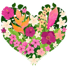 Heart Design with Tropical Leaves, Pink and Yellow Flowers