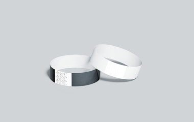 Blank black and white paper wristbands mockups, 3d rendering. Empty event wrist bands design mock up. Cheap hand bracelets template, isolated. Clear bangle wristlet set with sticker. Concert armlets