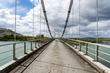Suspension bridge in Laugaras, Iceland