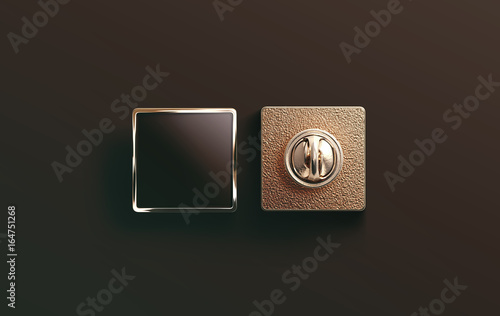 blank gold enamel pin black mock up front and back side view 3d
