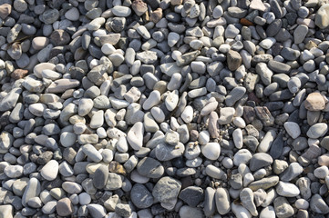 Group of white, grey and light brown stones background, pebbles beach