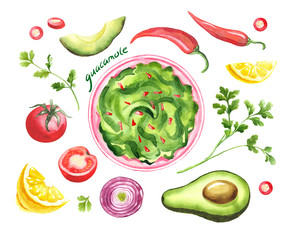 Guacamole - traditional mexican avocado sauce in bowl. Watercolor illustration isolated on white. National mexican food. Top view