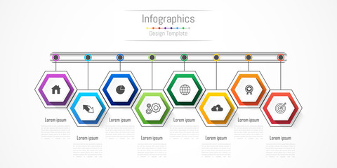 Infographic design elements for your business with 8 options, parts, steps or processes, Vector Illustration.
