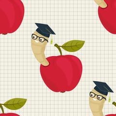 Cartoon worm in alumni hat and glasses peeking from a read apple seamless wallpaper