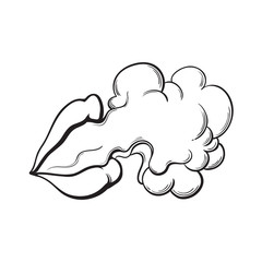 Beautiful female lips with red shiny lipstick emitting smoke cloud, black and white sketch style vector illustration isolated on white background. Hand drawing of smoke coming out of woman lips