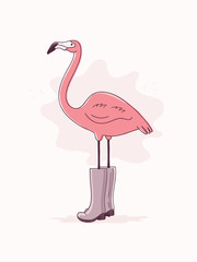 Hand Drawn Pink Flamingo in Rubber Boots.