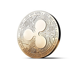 Golden Ripple (XRP) coin concept isolated on white background. 3D rendering (new virtual money)