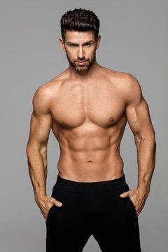 Fitness male model posing