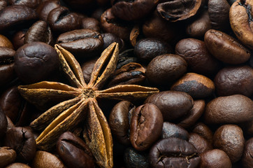 Coffee beans and anise star, closeup
