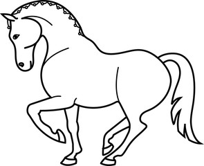 Sketch a trotting horse.