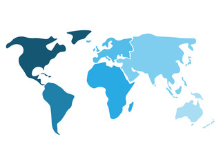 Wall Mural - Multicolored world map divided to six continents in different shaders of blue - North America, South America, Africa, Europe, Asia and Australia Oceania. Simplified silhouette blank vector map.