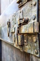 Closeup of Old Rusty Door Latch