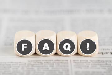 """Würfel bilden die Abkürzung """"FAQ"""""""