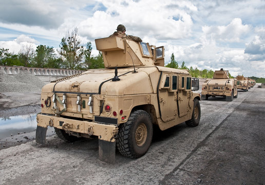 convoy of armored vehicle