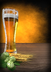 glass of beer with barley and hops - 3D render