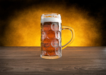 oktoberfest glass of beer on wooden table - 3D render