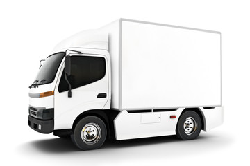 Generic white industrial transport truck on an isolated white background.Room for text or copy space. 3d rendering