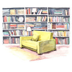 Watercolor illustration. Modern library room with an armchair and a lot of color books