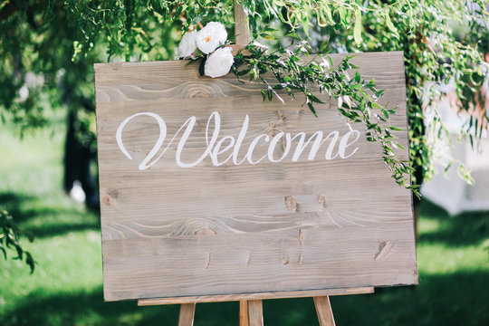 Vintage sign for guests with a place for text