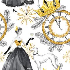 Modèle sans couture aquarelle dans un style rétro doré. Belle femme avec champagne, chiens Greyhound, horloge bijoux, diadème, branches de sapin. Illustration vintage du nouvel an. Pour la conception de vacances.
