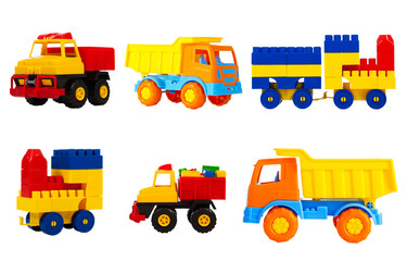 toys transport for children isolated on a white background, a set