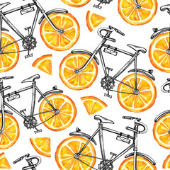 Watercolor seamless pattern bicycles with orange wheels. Colorful summer background.