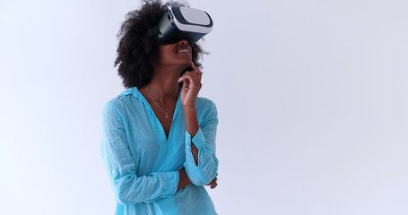 black girl using VR headset glasses of virtual reality