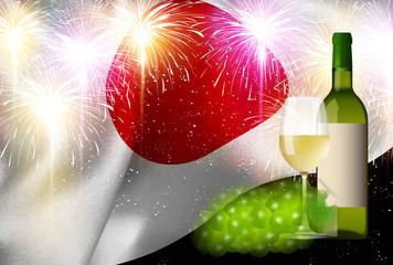 ワイン 日本  国旗 背景