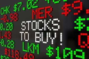 Stocks to Buy Market Ticker Investment Picks 3d Illustration