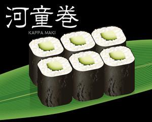 かっぱ巻きの寿司のリアルイラスト 巻物