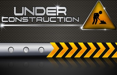 Under construction with road sign