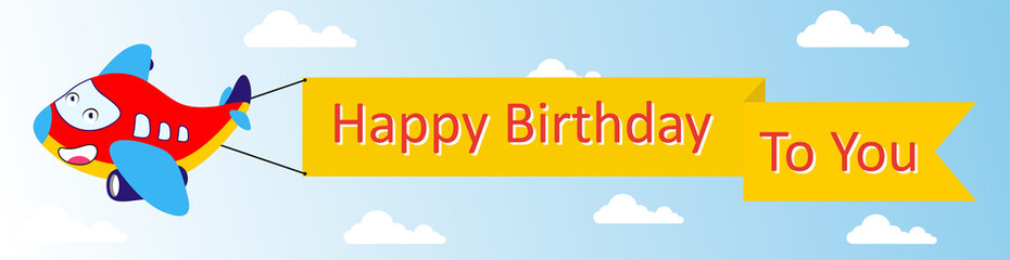 cartoon character plane bring flag with happy birthday lettering