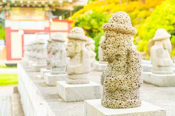 Dol Harubang at Yakcheonsa Temple in Jeju Island