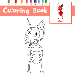 Coloring page of Fire Ant with black hat animals for preschool kids activity educational worksheet. Vector Illustration.
