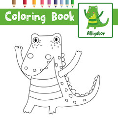 Coloring page of standing alligator animals for preschool kids activity educational worksheet. Vector Illustration.
