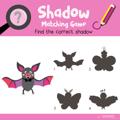 Shadow matching game of Bat animals for preschool kids activity worksheet colorful version. Vector Illustration.