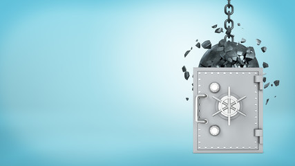 3d rendering of a large wrecking ball hitting a silver old-fashioned safe box and crashing itself in many pieces