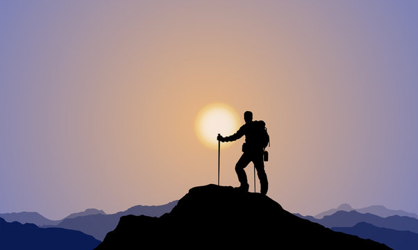Explorer, Climber, Mountaineering, Mountaintop, Sunset