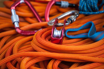 Poster de jardin Alpinisme Equipment for mountaineering and rope.