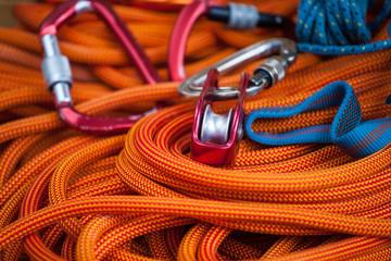 Foto op Aluminium Alpinisme Equipment for mountaineering and rope.