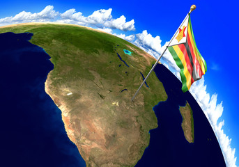 Zimbabwe national flag marking the country location on world map. 3D rendering, parts of this image furnished by NASA