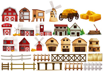 Different design of barns and fences