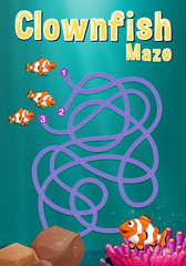 Game template with clownfish and coral reef
