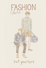 Fashion Collection Of Clothes Set Of Male Models Wearing Trendy Clothing Sketch Vector Illustration