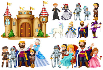 Fairytale characters and castle building