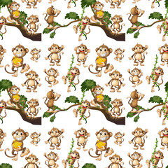 Seamless background design with cute monkeys