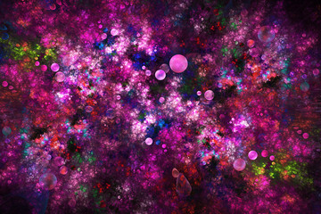 Abstract drops and swirly shapes on dark background. Fantasy fractal design in bright red, blue, green and pink colors. Digital art. 3D rendering.