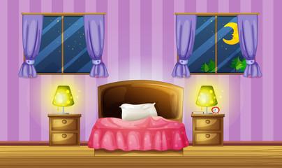 Bedroom scene with two windows
