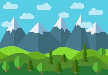 Vector panoramic mountain cartoon landscape. Natural landscape in the flat style with blue sky, clouds, trees, hills and mountains with snow on the peaks.